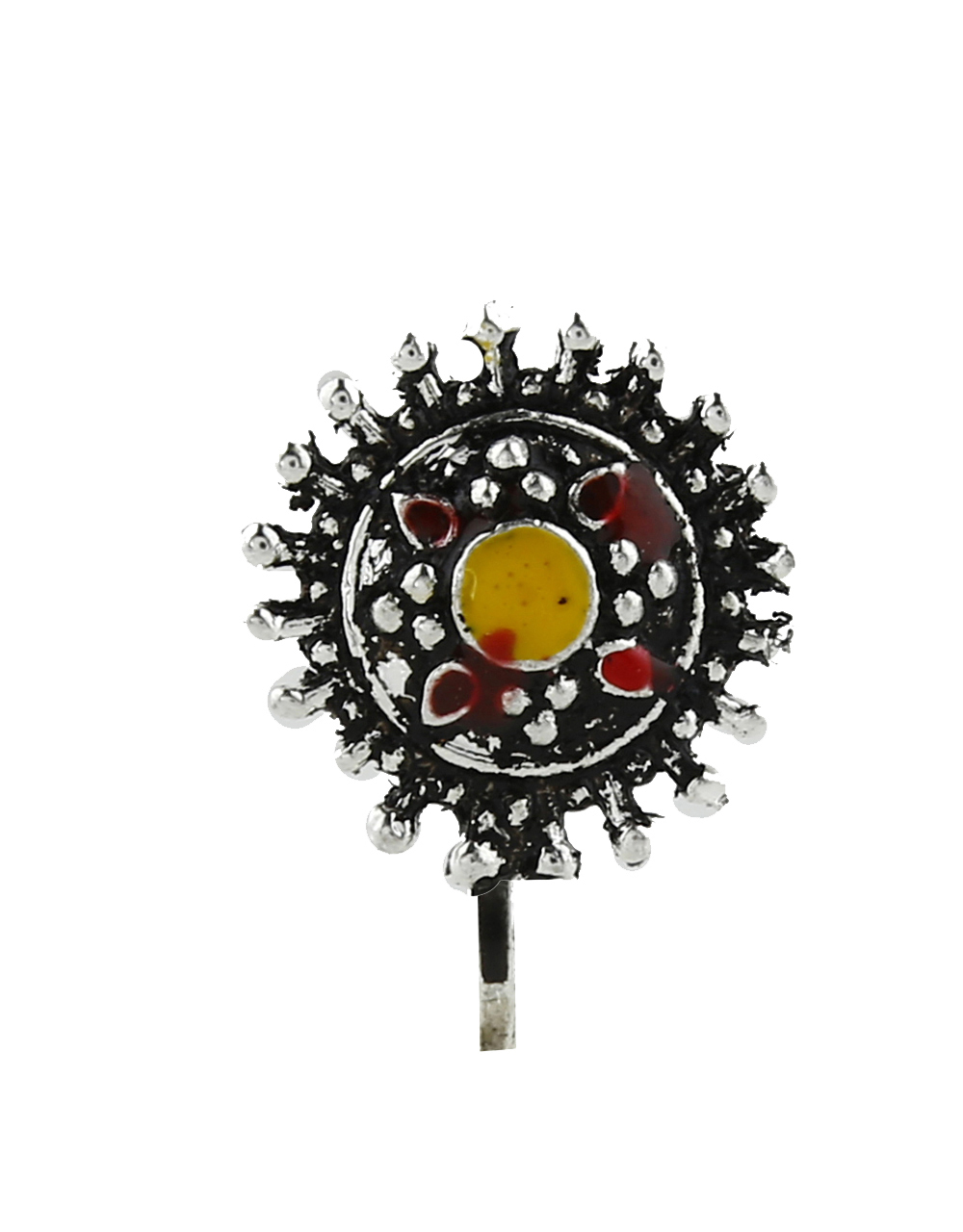 Yellow-Red Colour Round shape Designer Silver Oxidised Press On Nose Ring/Nose Stud/Pin For Women/Girls