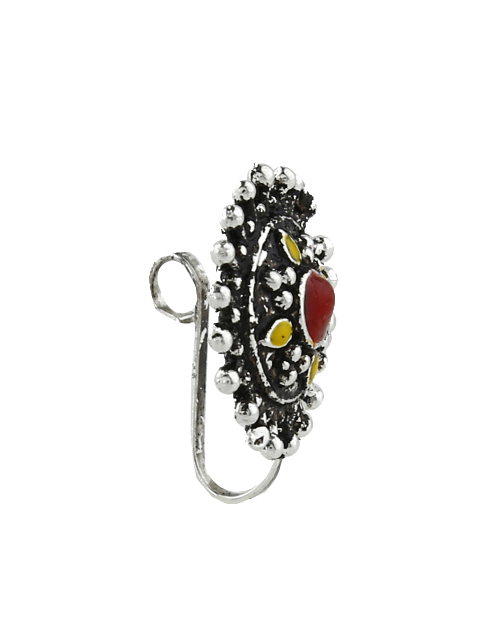 Round Shape Yellow And Red Colour Adorable Mina Work Silver Oxidised Press On Nose Ring/Nose Stud/Pin for Women/Girls