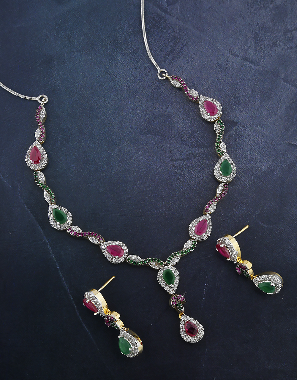 Beautiful Pink And Green Stone Studded  Necklace With Earrings Set.