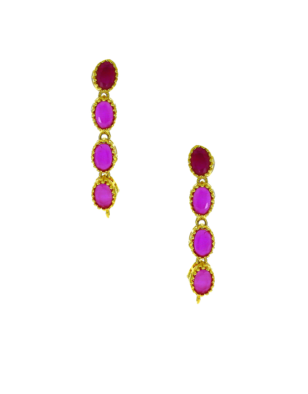 Beautiful Ruby Stones Studded Necklace With Earrings Set.