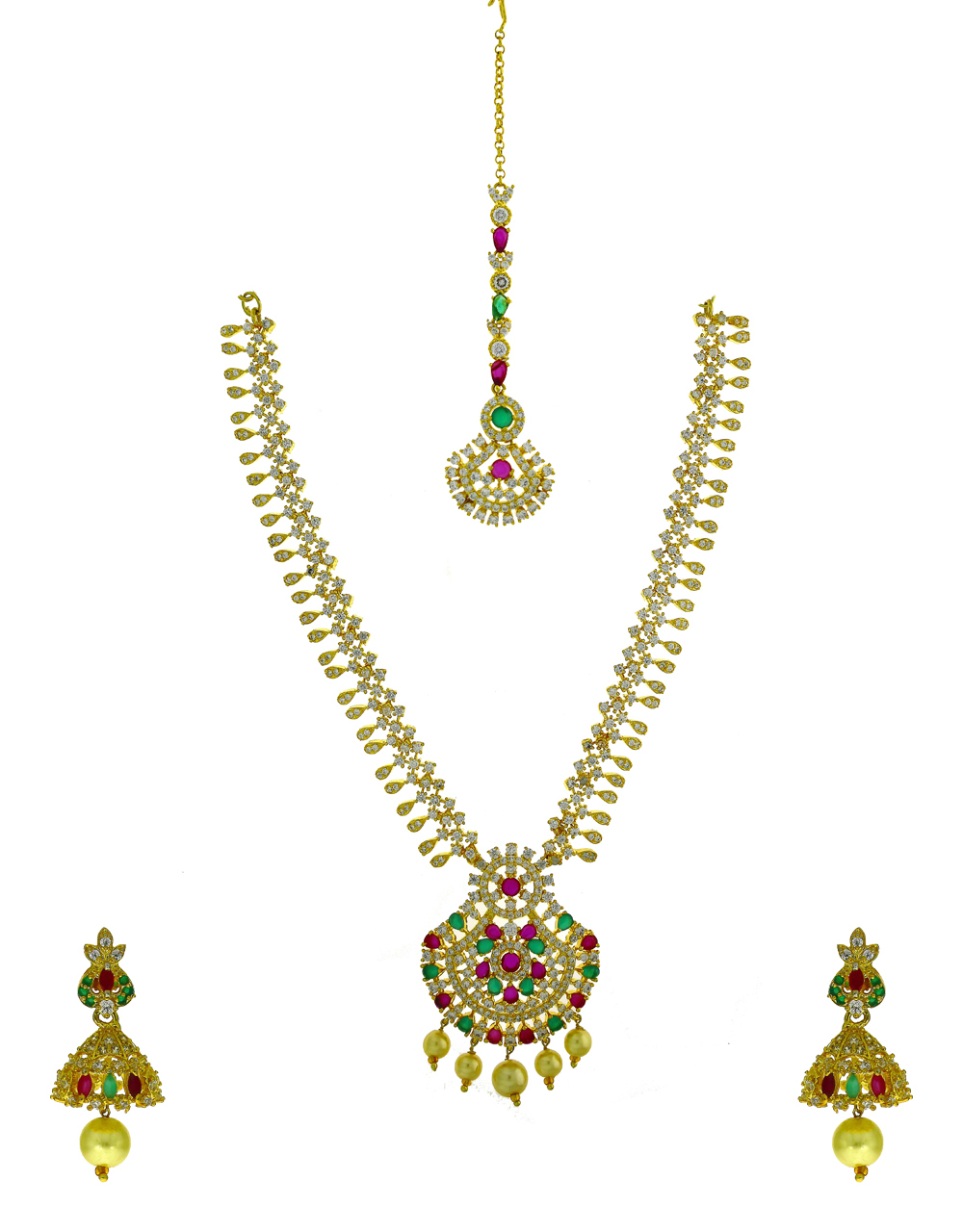 Ruby Pink And Green Stone Studded Traditional Necklace With Earring Set.