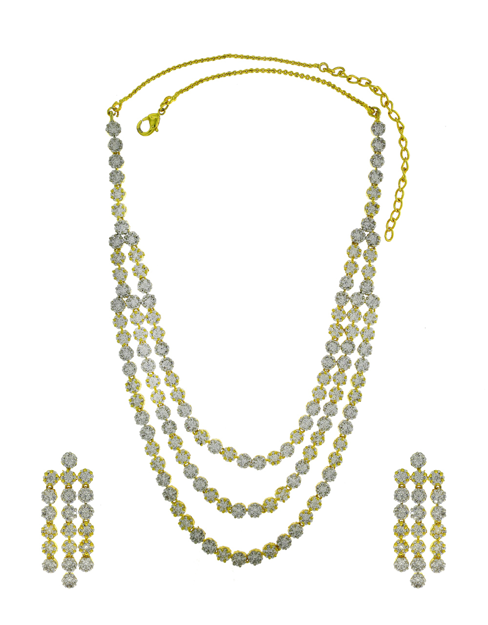 Gold Finish Styled With Studded American Diamonds Stone Traditional Necklace Set For Women