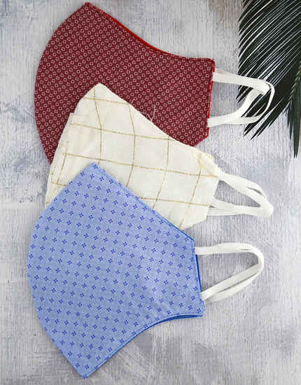 Classic Red, Blue And White Colour Printed Set Of Three Face Mask Combo