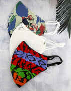 Red, Blue And White Set Of Three Combo Set Of Cotton Synthetic Face Mask For Corona Protection