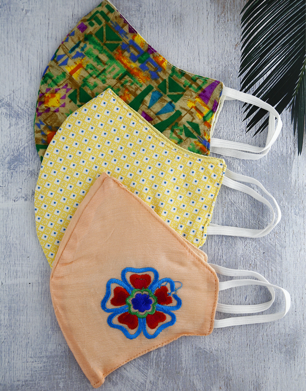 Multi Color, Yellow And Pink Cotton Printed Face Mask For Girls/Women Combo Set.