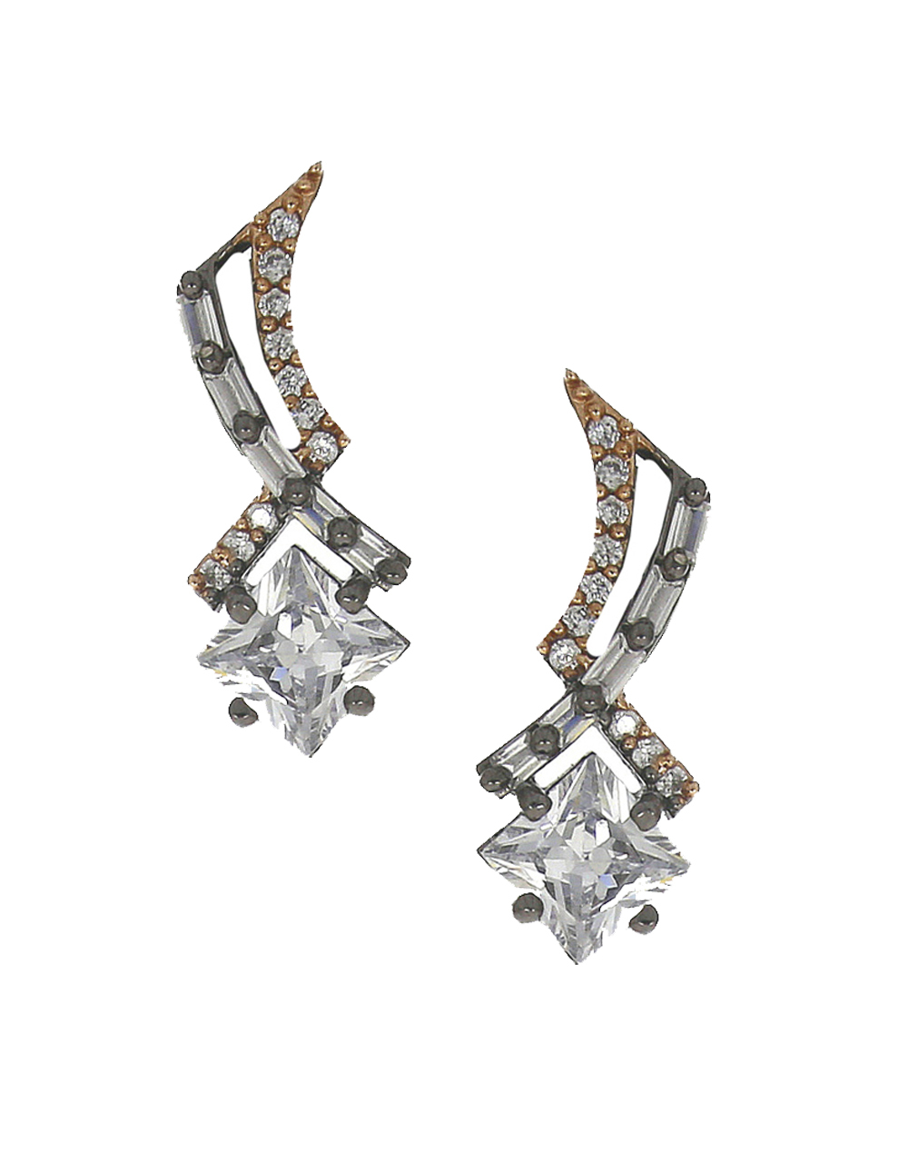 American diamond studded fancy silverplated pendant with earrings set