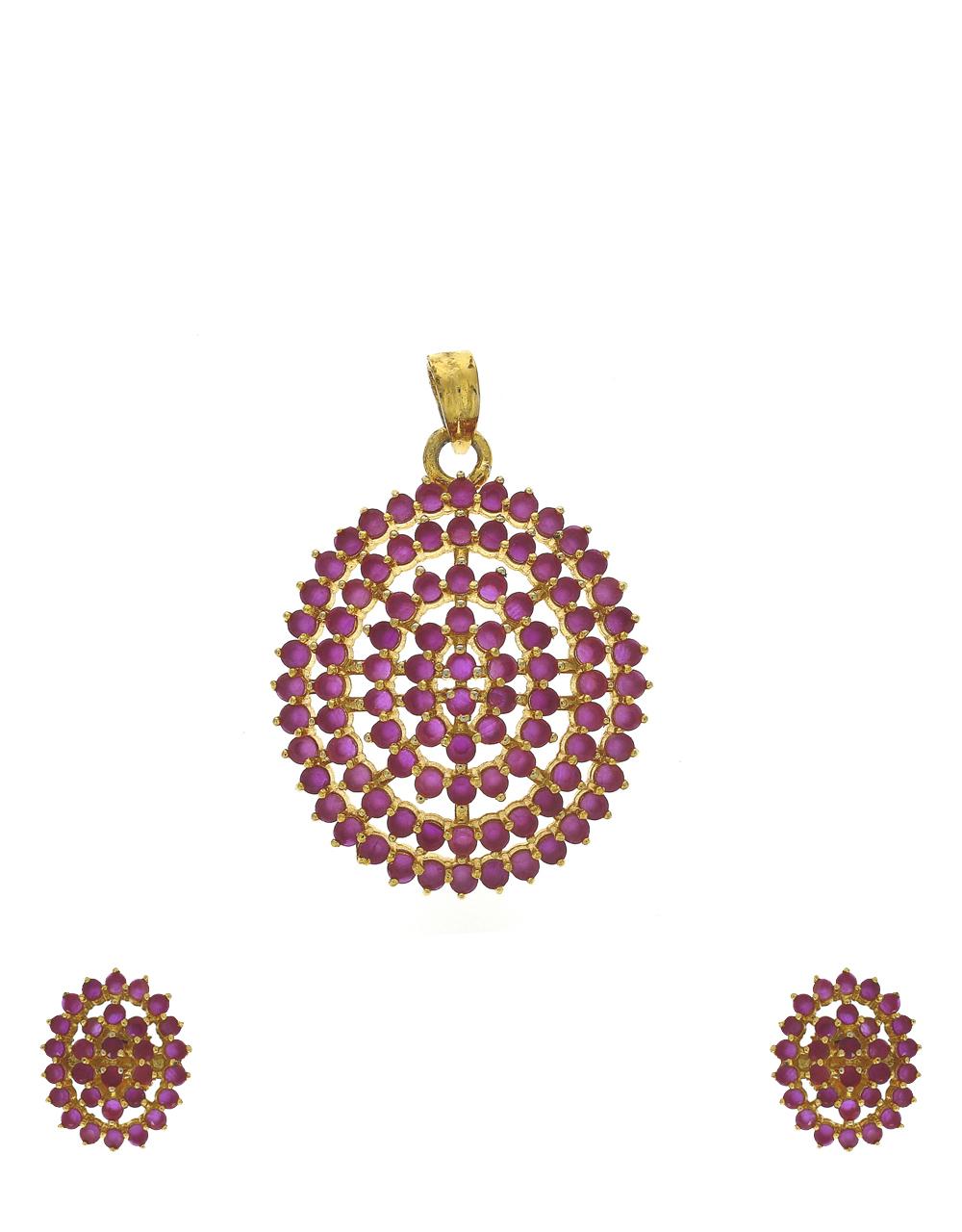 Amazing ruby stones studded gold-plated traditional pendant with earrings set