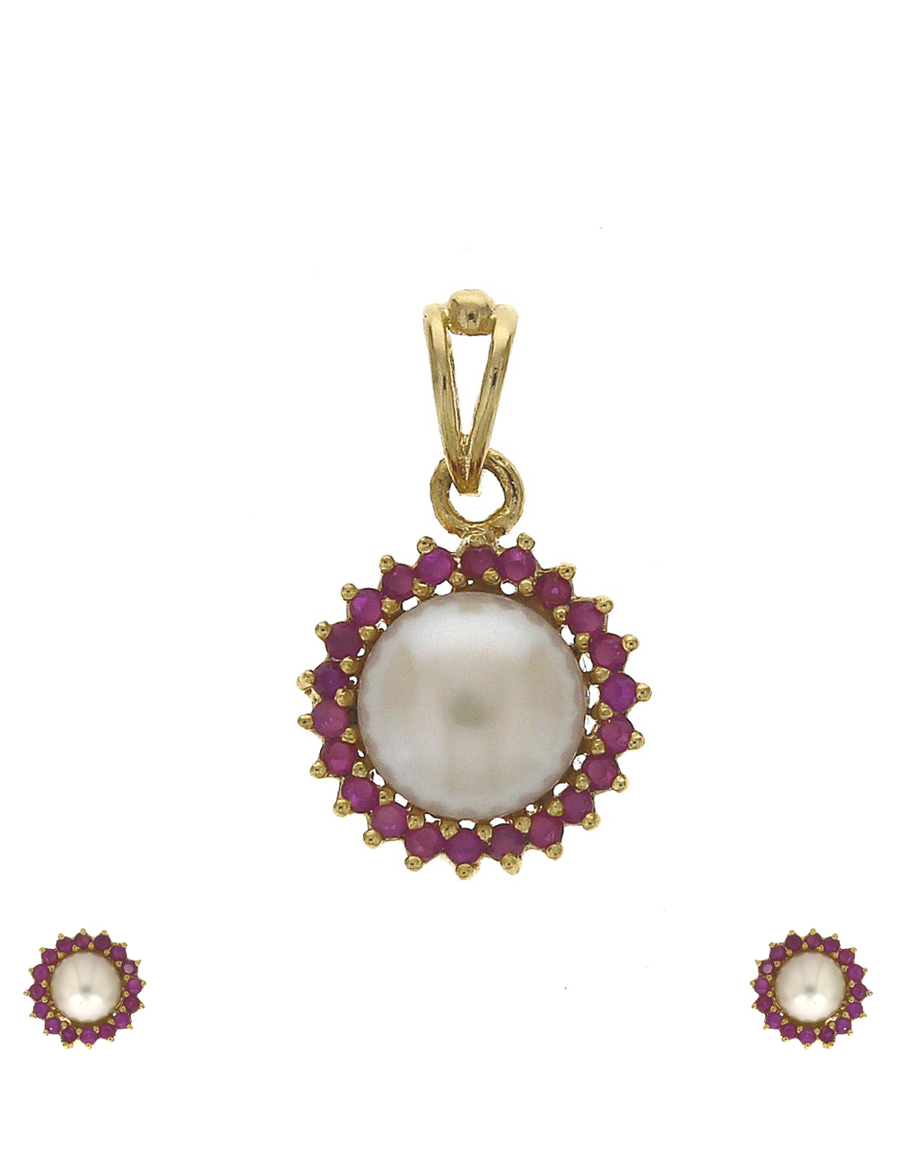 Classy ruby stones studded with pearl bead gold finish pendant with earrings set