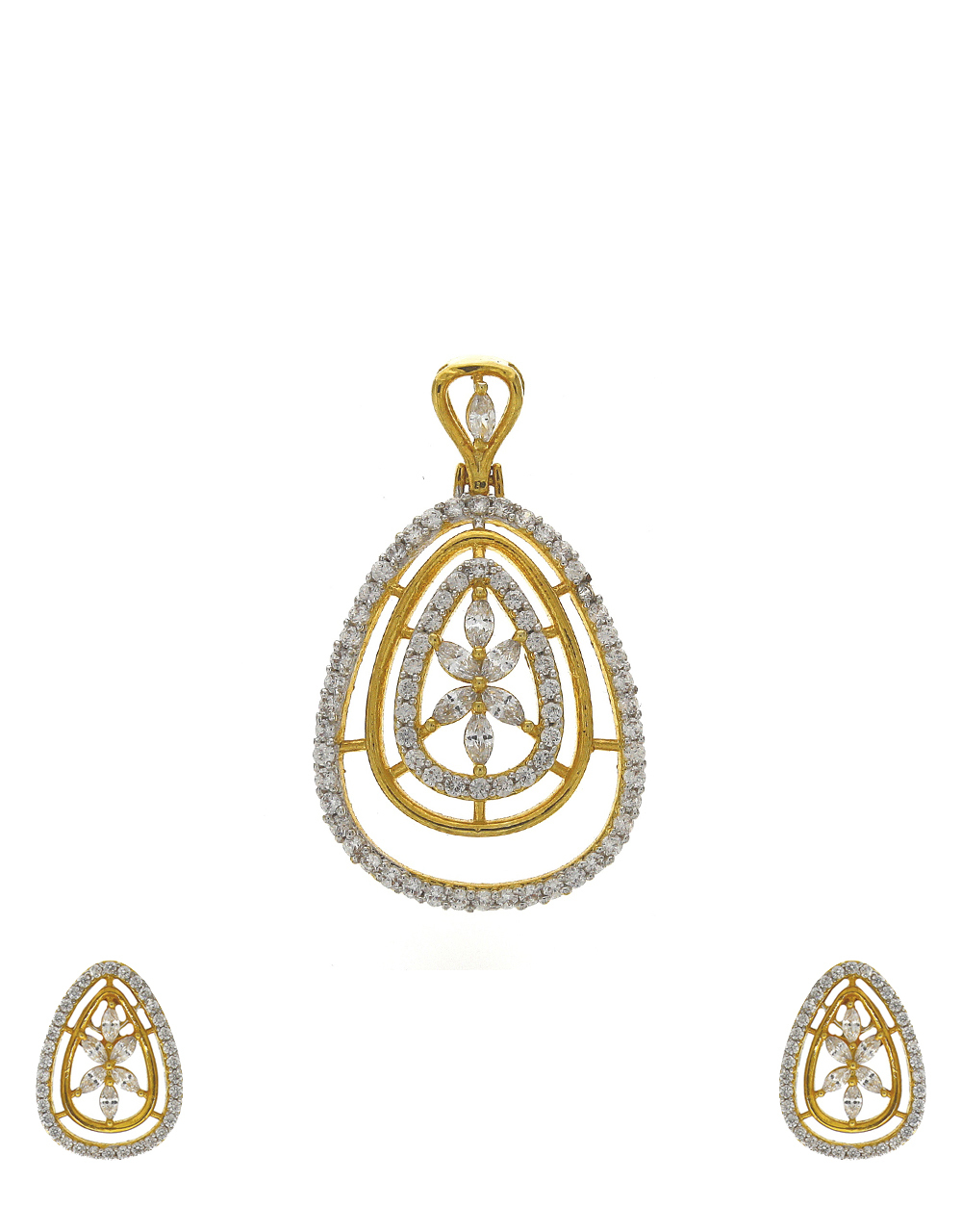 Oval shape gold-plated stones white studded pendant with earrings set