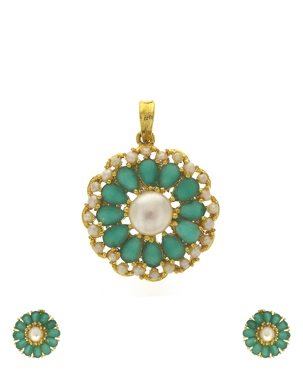 Pale green colour stones and pearl beads studded pendant with earrings pair