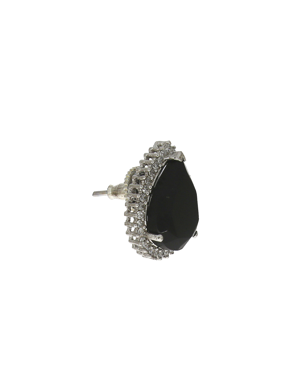 Silver-plated sparkling black stones studded pendant with earrings set