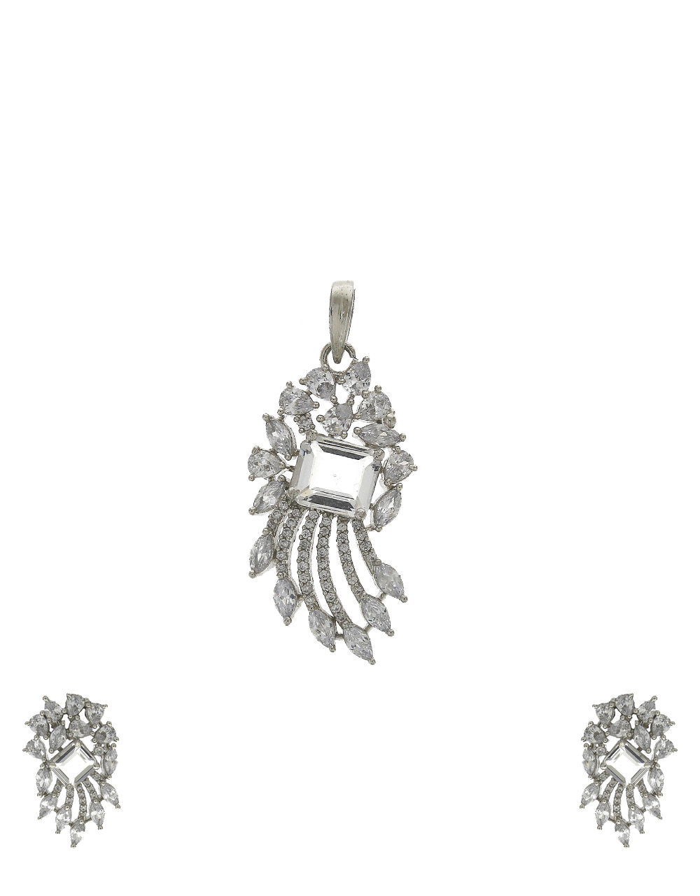 Silver-plated unique American diamond stones studded pendant with earrings set