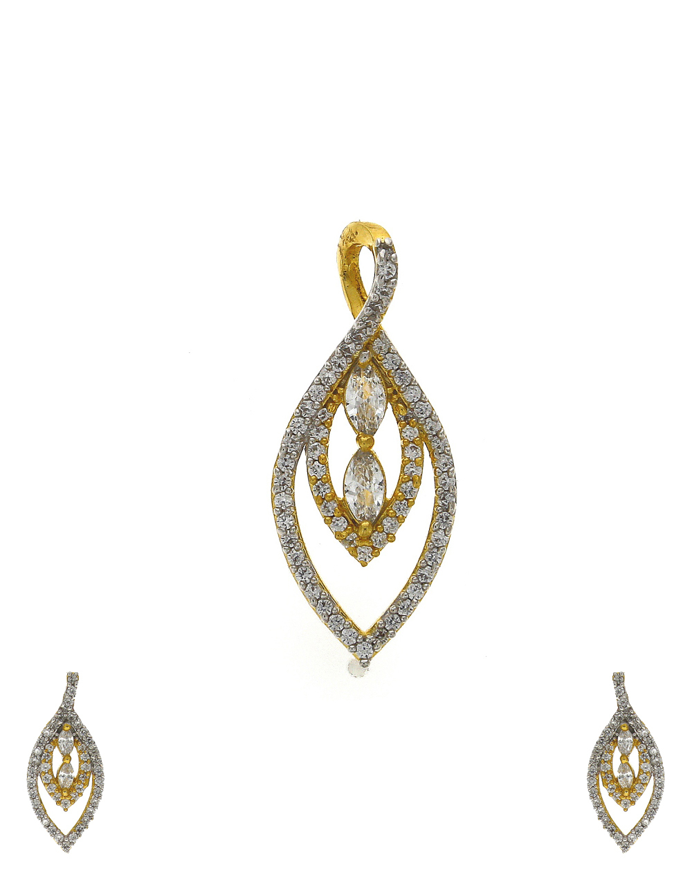 Stylish leaf design gold-plated stones studded pendant with earrings set