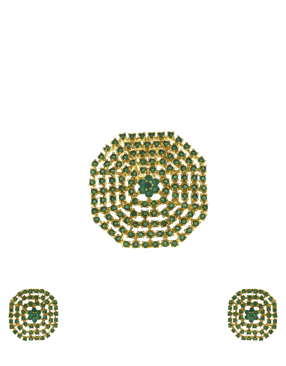 Green stones studded gold-plated pendant with earrings set