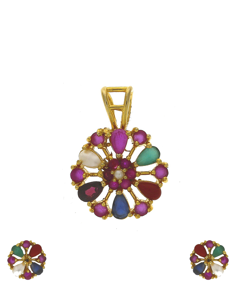Multi colour stones studded gold-plated pendant with earrings set