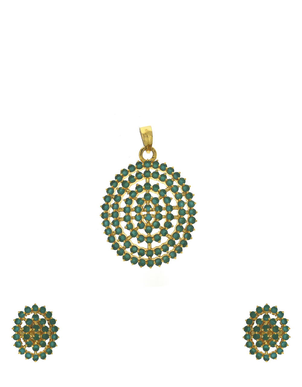 Green stones and studded pendant set with earrings