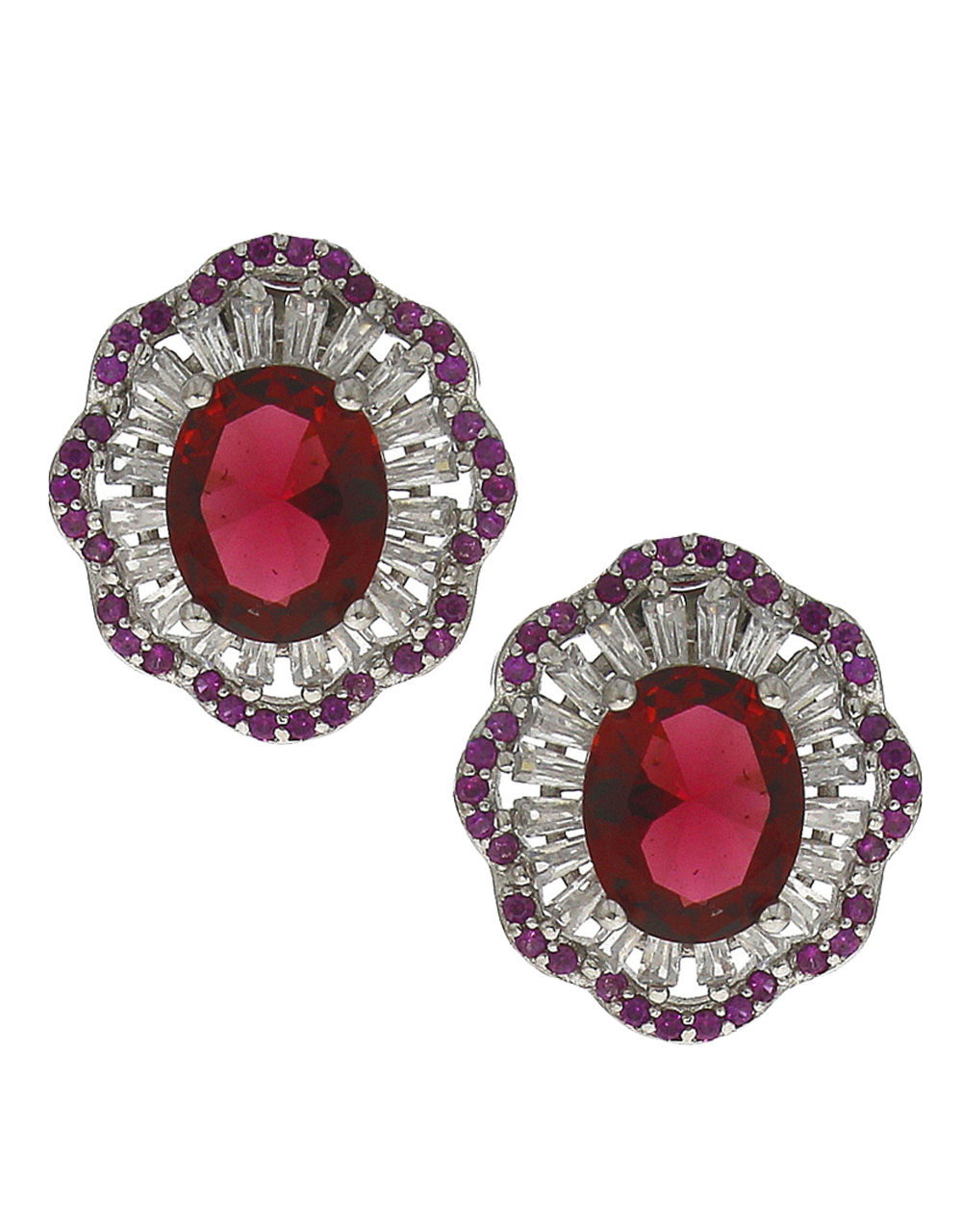 Classy ruby stones studded silver finish floral design pendant with earrings