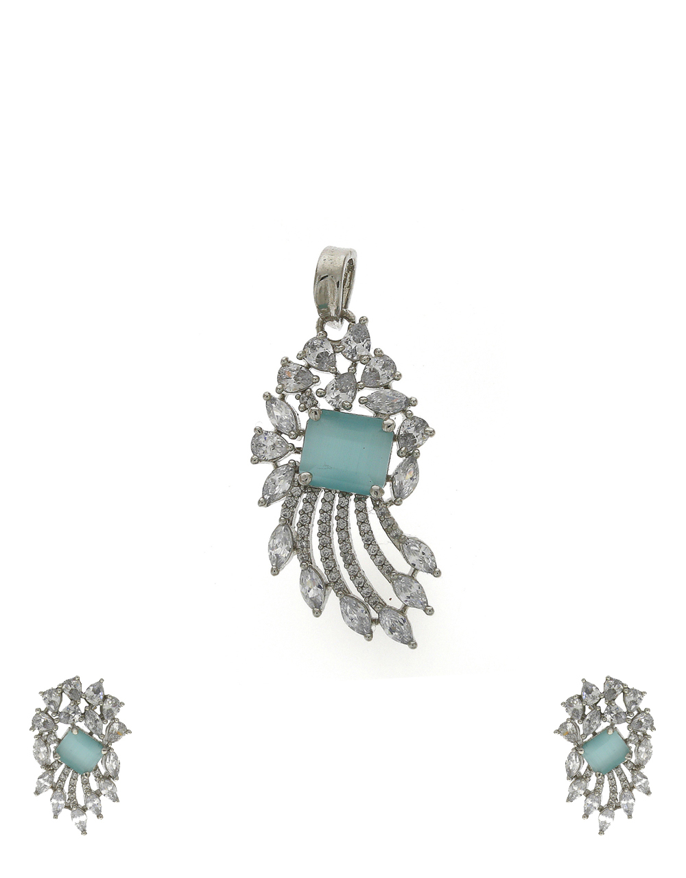 American diamond studded with pale green stone fancy pendant with earrings set