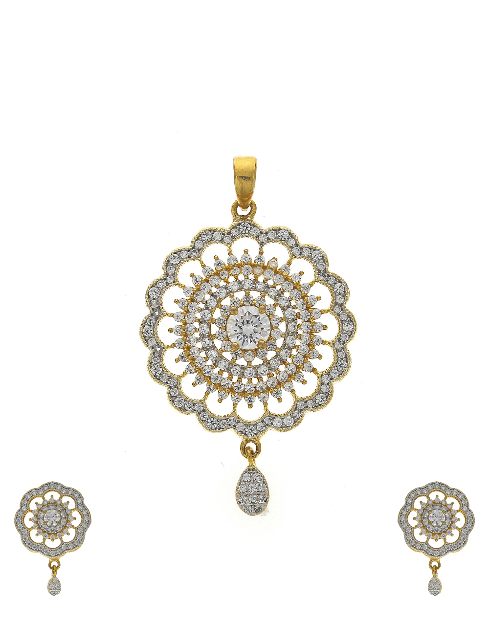 Floral shape gold-plated stones white studded pendant with earrings set
