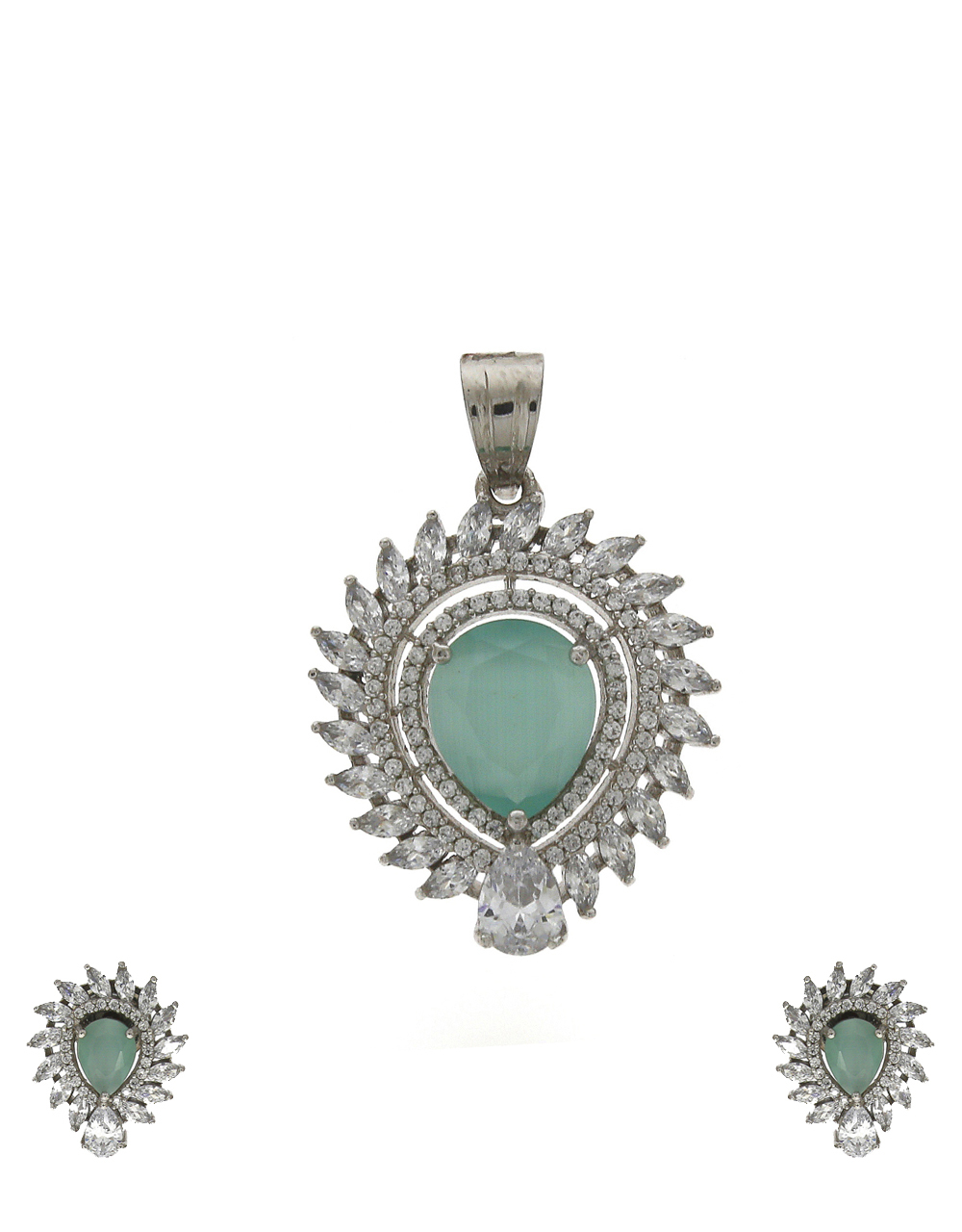 Silver- plated with pale green colour stone pendant with earrings set