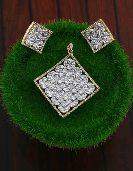 American diamond studded fancy pendant with earrings set