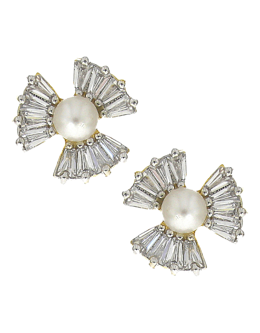 White stones studded with pearl beads gold finish pendant with earrings set