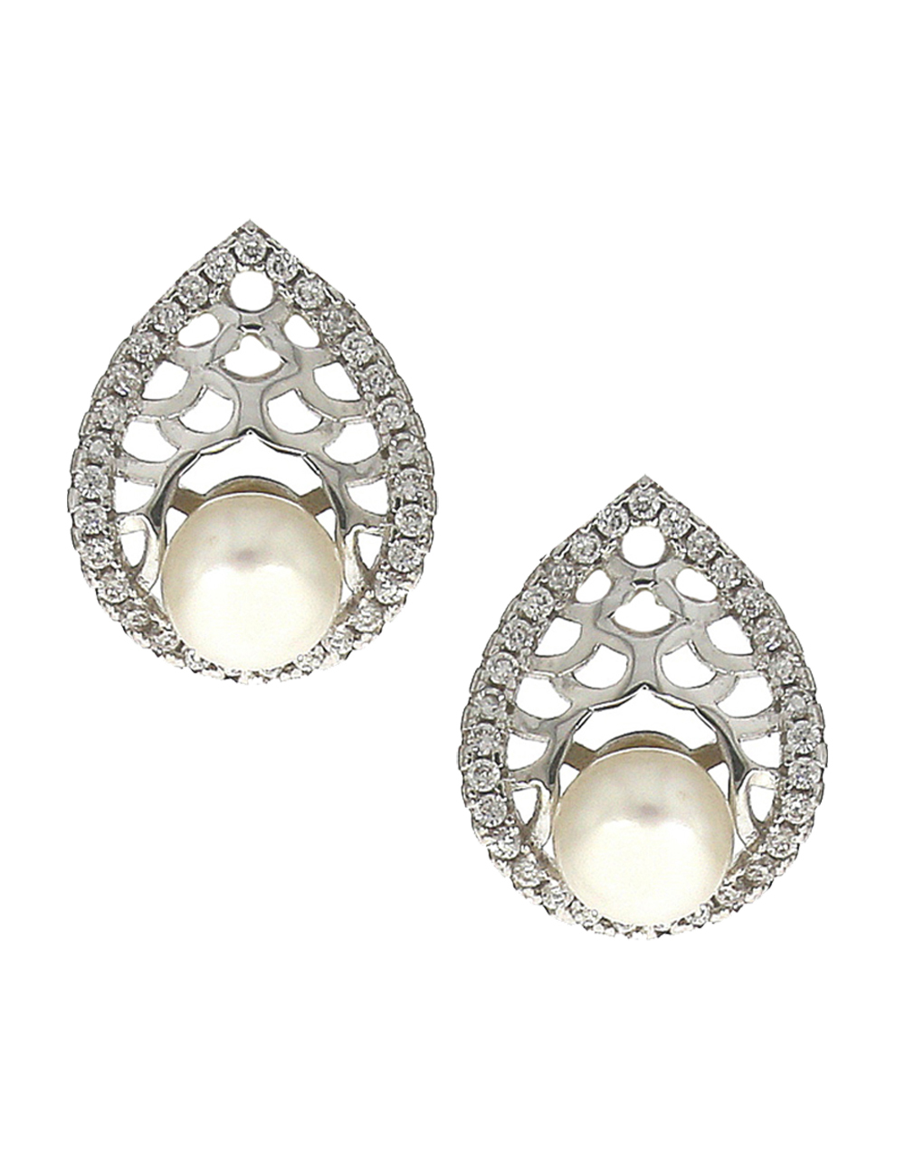 Oval shape gold-plated stones white studded and pearl bead pendant with earrings set