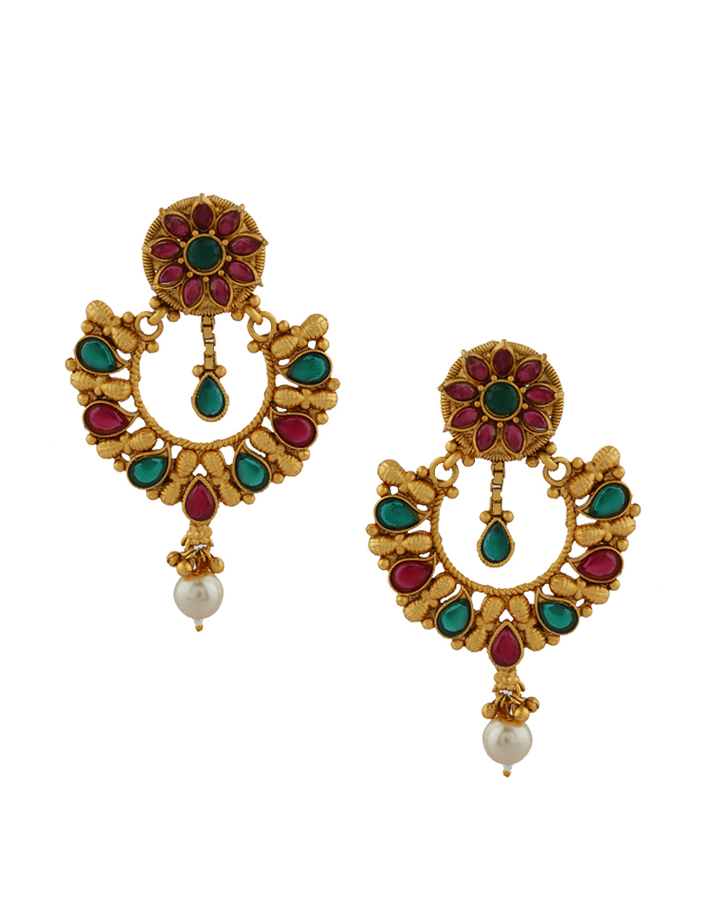 Golden Finish With Pearl Breads Droplet With Ruby And Green Classy Earrings Pair