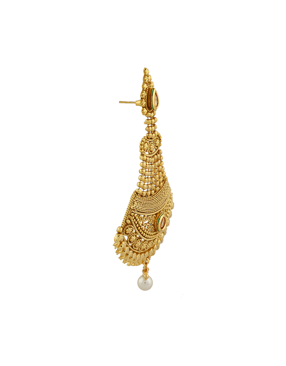 Gold Finish Pearl Beads Droplet Earrings Pair Studded With LCT Stones