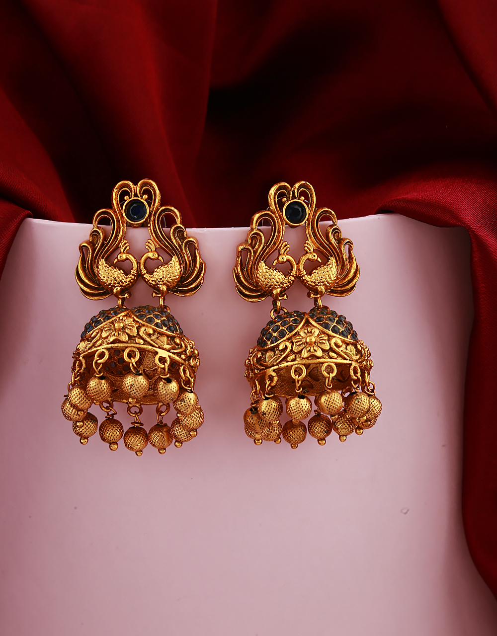 Gold Finish Gold Beads Droplet Earrings Pair Studded With Blue Stones.