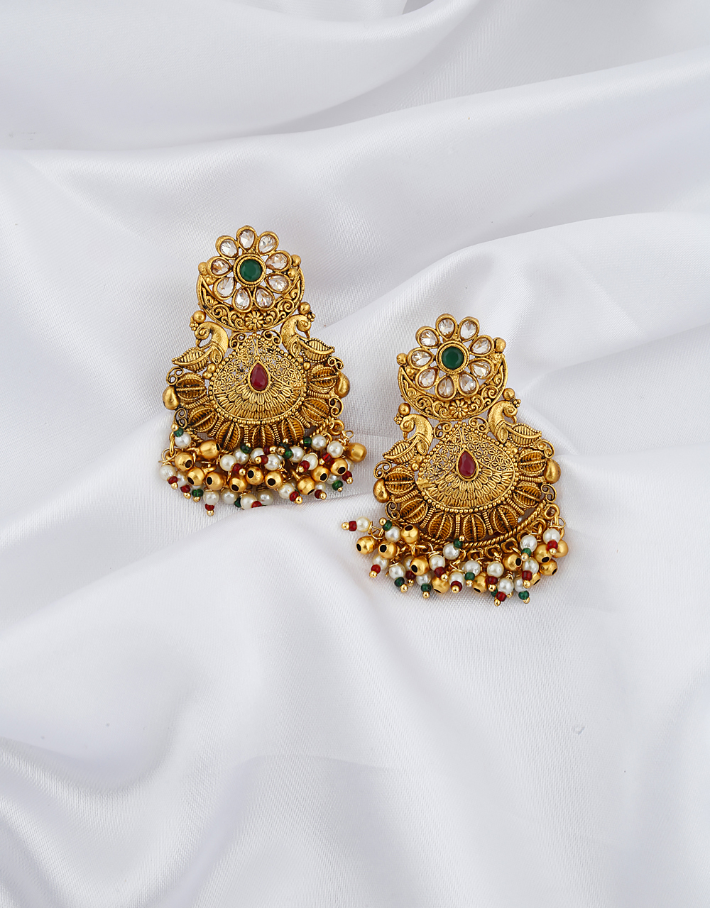 Golden Finish Peacock Design Studded With Lots Of Pearl Beads Droplet Earrings Pair