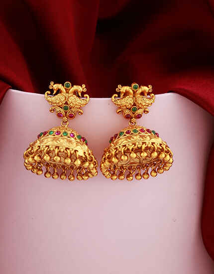 Golden Finish Peacock Design Studded With Ruby Stones Pearl Beads Droplet Earrings Pair