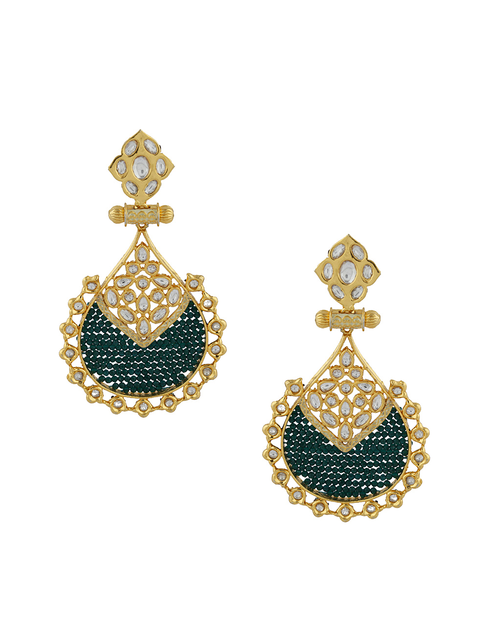 Designer Green And White Stones Studded Golden Finish Earrings Pair