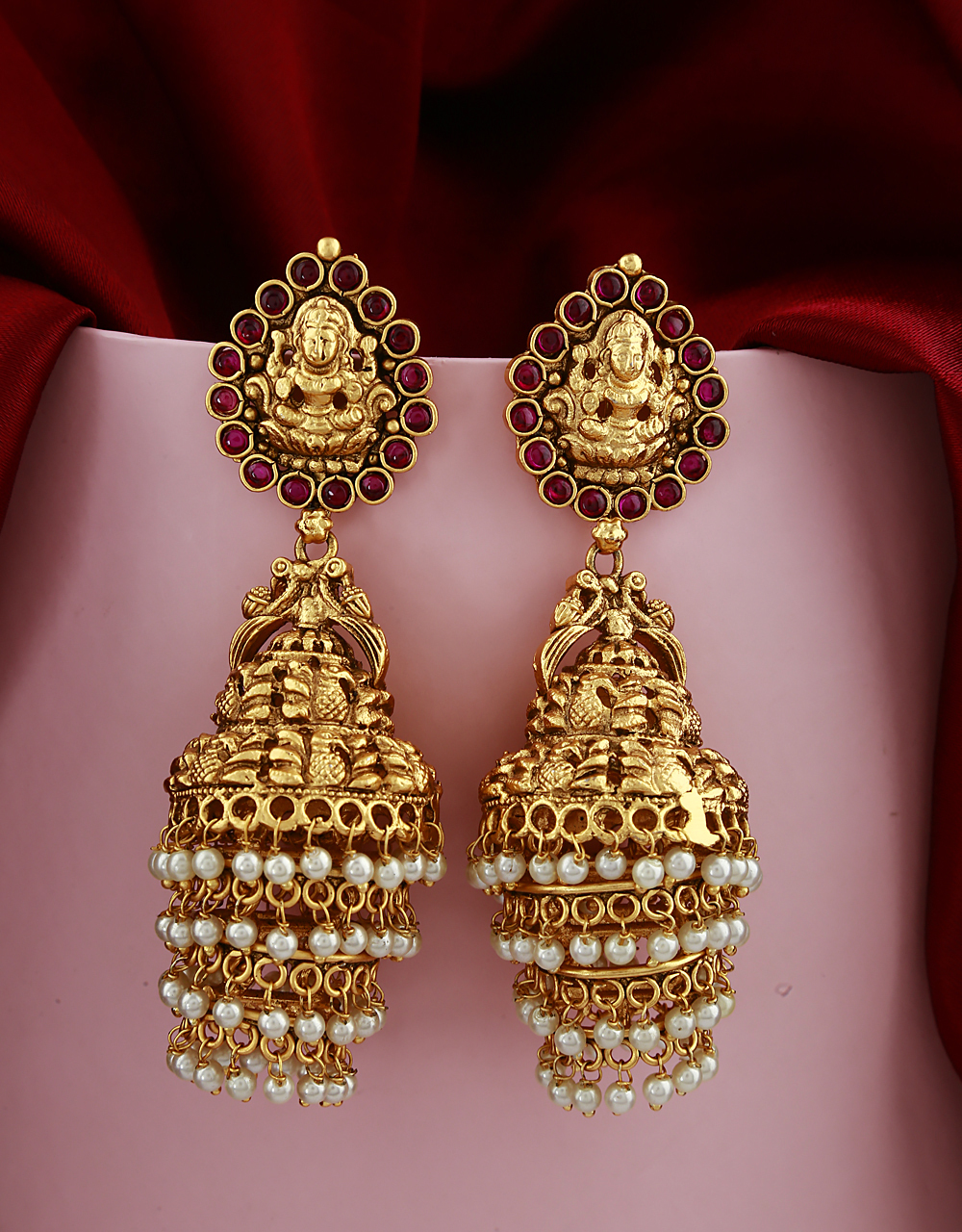 Golden Finish Temple Design Studded With Lots Of Pearl Beads Droplet Earrings Pair