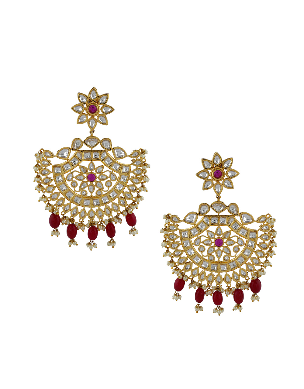 Temple Design Half Circle Droplet With Golden Finishing Earrings Pair