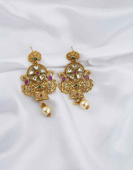 Golden Finish With Pearl Breads Droplet Unique Round Shape Classy Earrings Pair