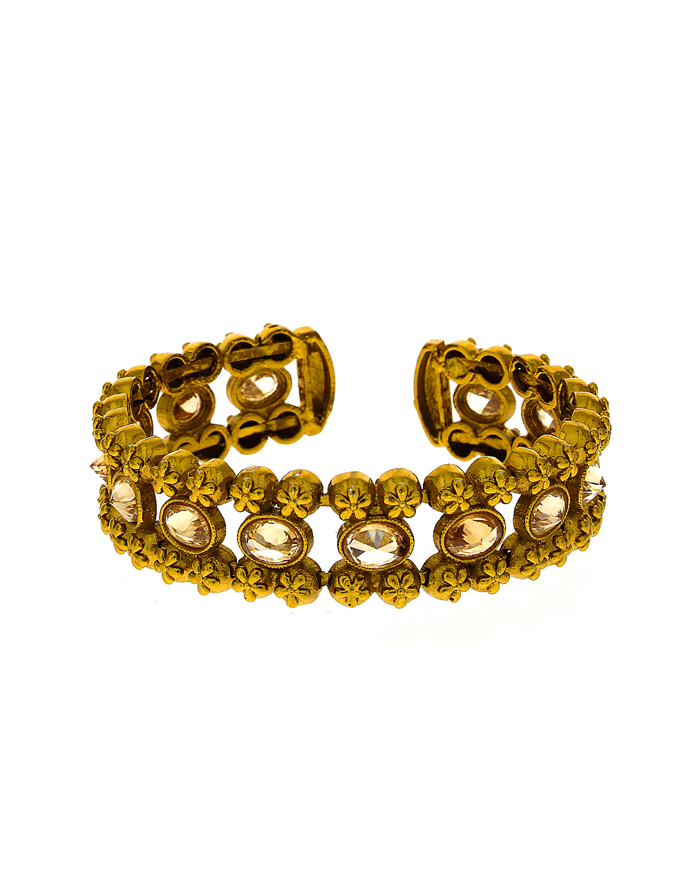 Beautiful Lct Stones Studded Floral Design Bracelet In Gold-Finish