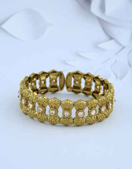 Unique Shape Lct Stones Studded Gold-Finish Bracelet For Woman.
