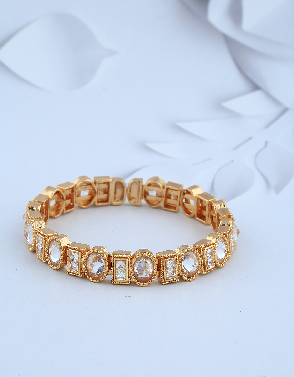 Beautiful Gold-Finish Studded With Lct Stones Square And Circle Designer Bracelet.
