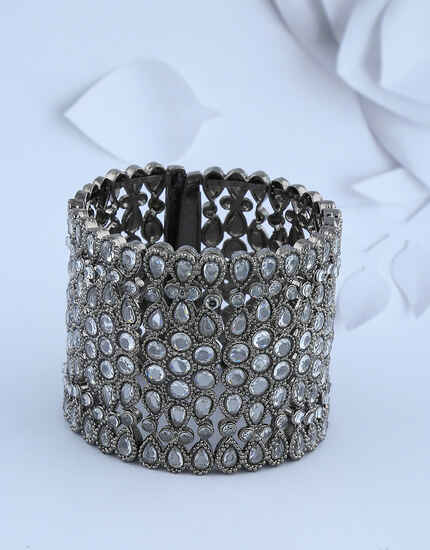 Oxidized Silver-Finish Studded With White Stones Heavy Designer Bracelet