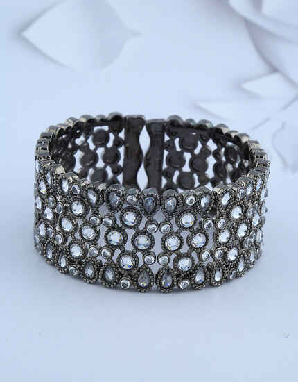 Oxidized Silver-Finish Studded With White Stones Fancy Designer Bracelet