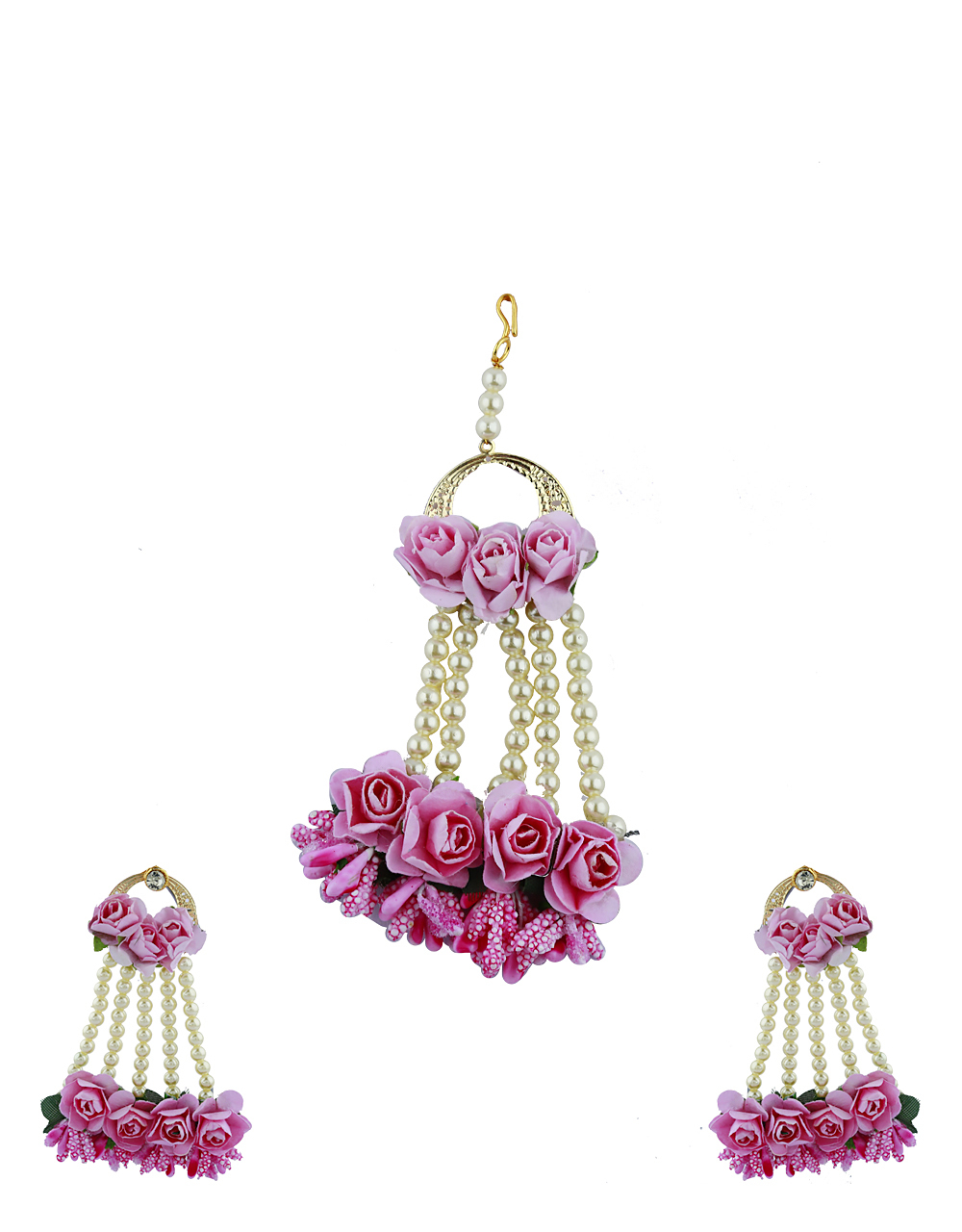 Pink Color Foam Flower With Pearl Beads Studded Earrings With Maang Tikka