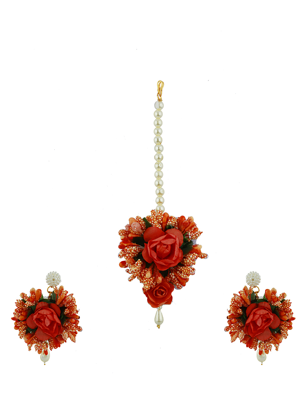 Peach Color Foam Flower With Pearl Beads Studded Earrings With Maang Tikka