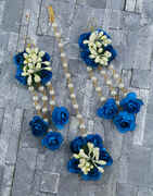 Blue Color Foam Flower With Pearl Beads Studded Droplet Earrings With Maang Tikka