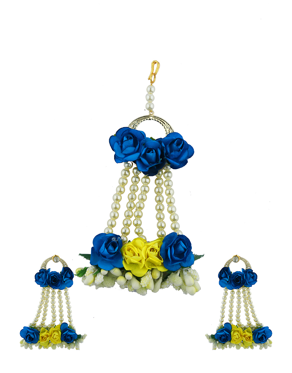 Blue And Yellow Color Foam Flower With Pearl Beads Studded Droplet Earrings With Maang Tikka