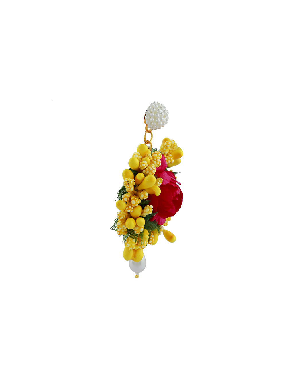 Red And Yellow Color Foam Flower With Pearl Beads Studded Earrings With Maang Tikka