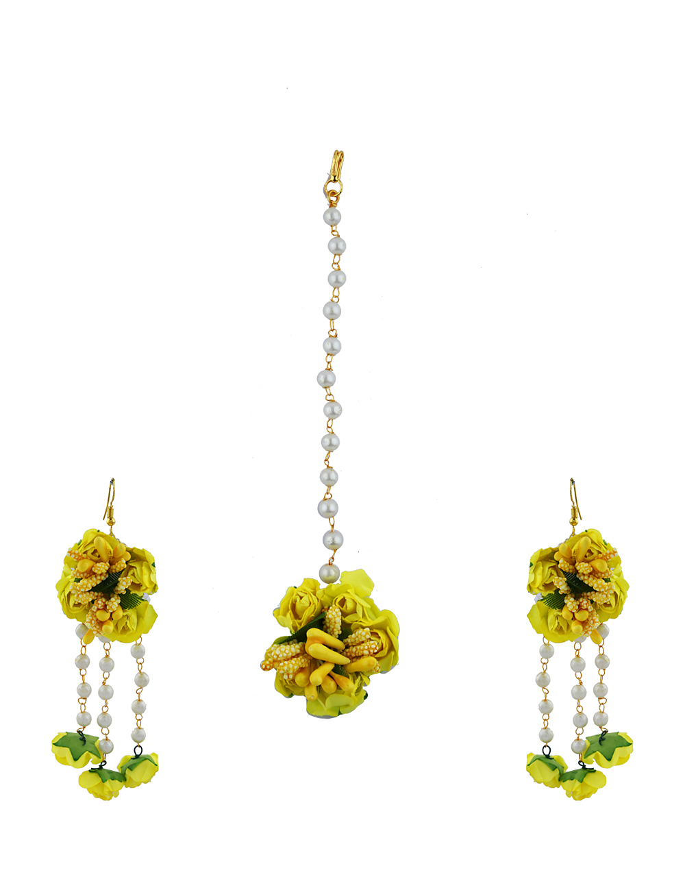 Yellow Color Foam Flower With Pearl Beads Studded Droplet Earrings With Maang Tikka