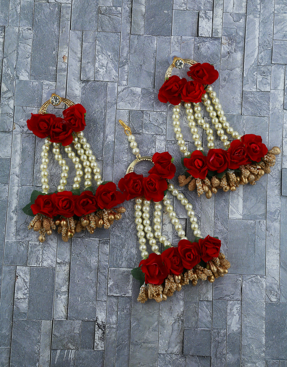 Red Color Foam Flower With Pearl Beads Studded Droplet Earrings With Maang Tikka