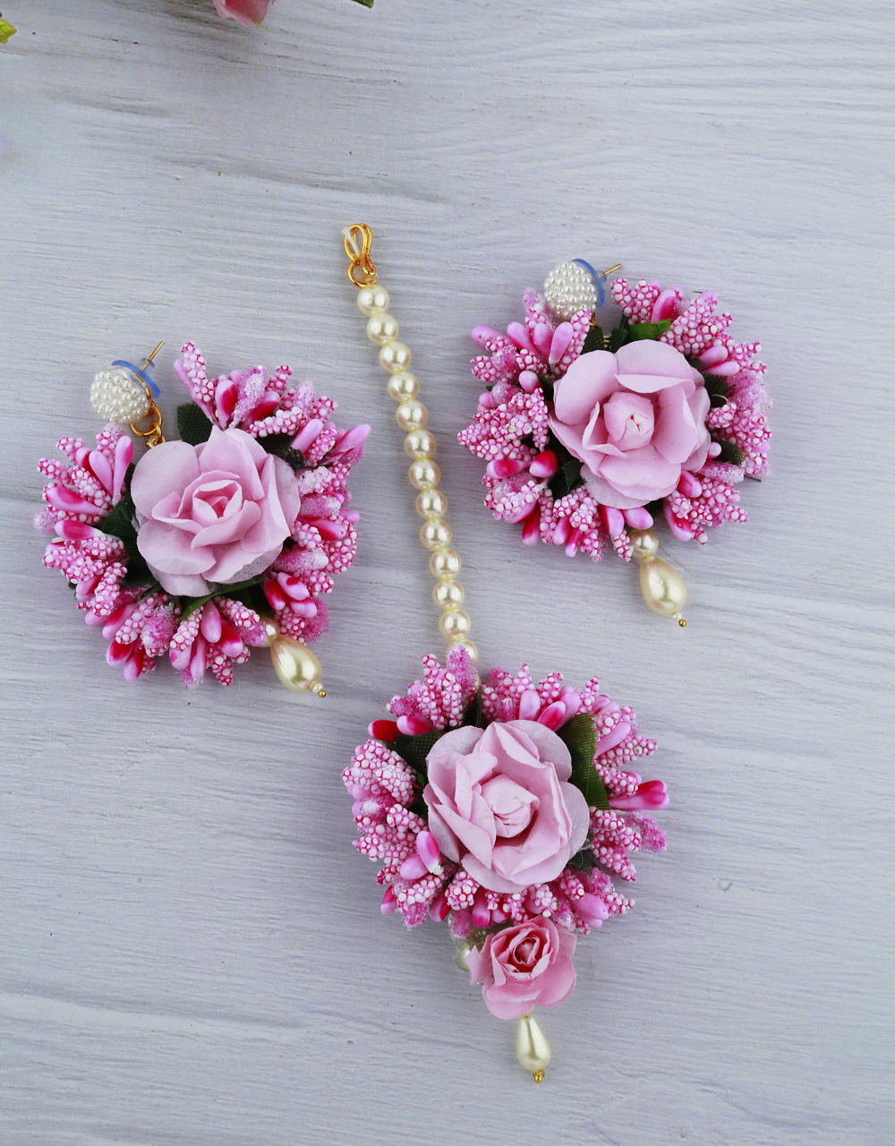 Light Pink Color Foam Flower With Pearl Beads Studded Droplet Earrings With Maang Tikka