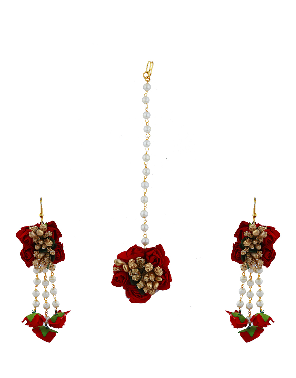 Red Color Foam Flower With Golden Pearl Beads Studded Droplet Earrings With Maang Tikka